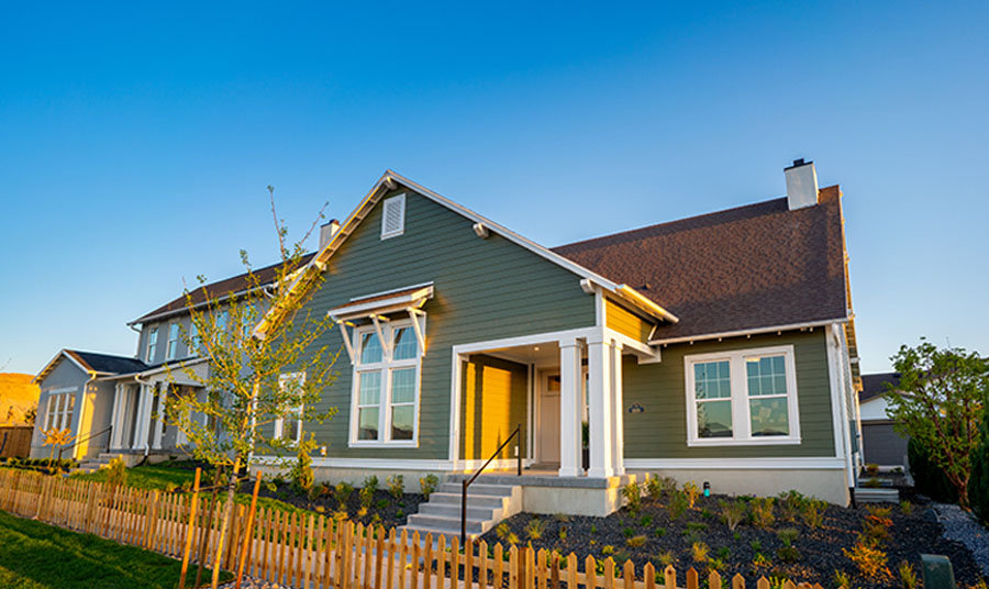 The Hyde model home located in SpringHouse Village, an active adult community in South Jordan, Utah.
