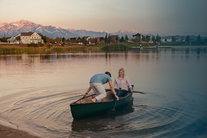Couple in a Canoe   Daybreak Utah Homes, South Jordan