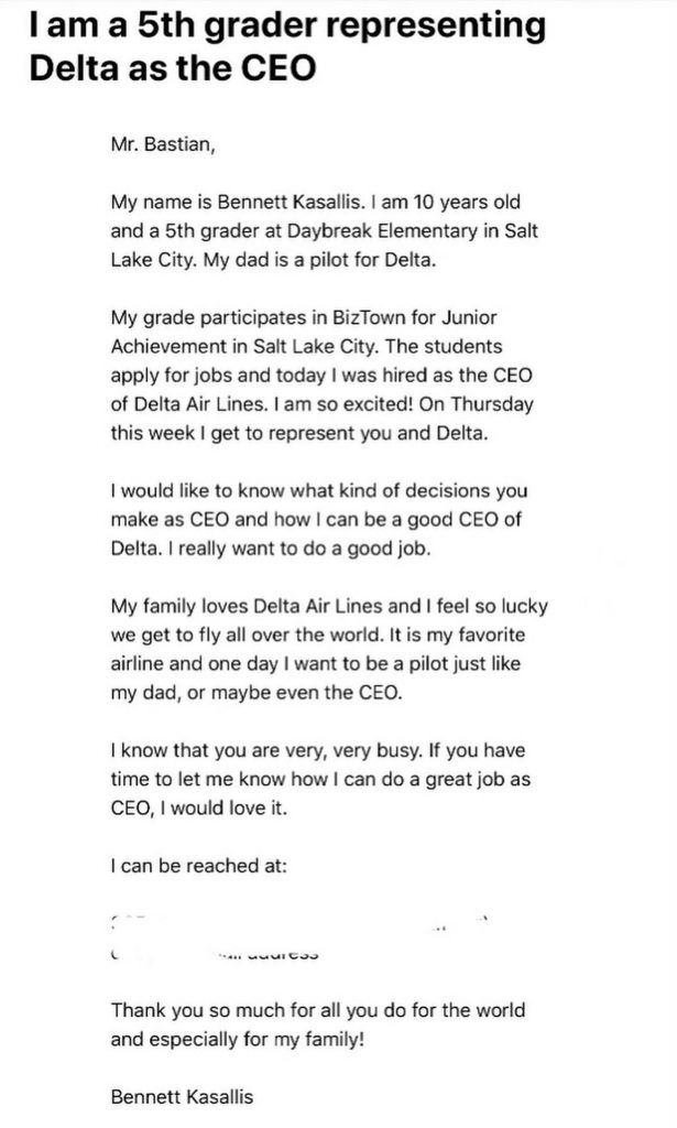 Daybreak Elementary student Bennett Kasallis writes to Delta Airlines CEO Ed Bastian.