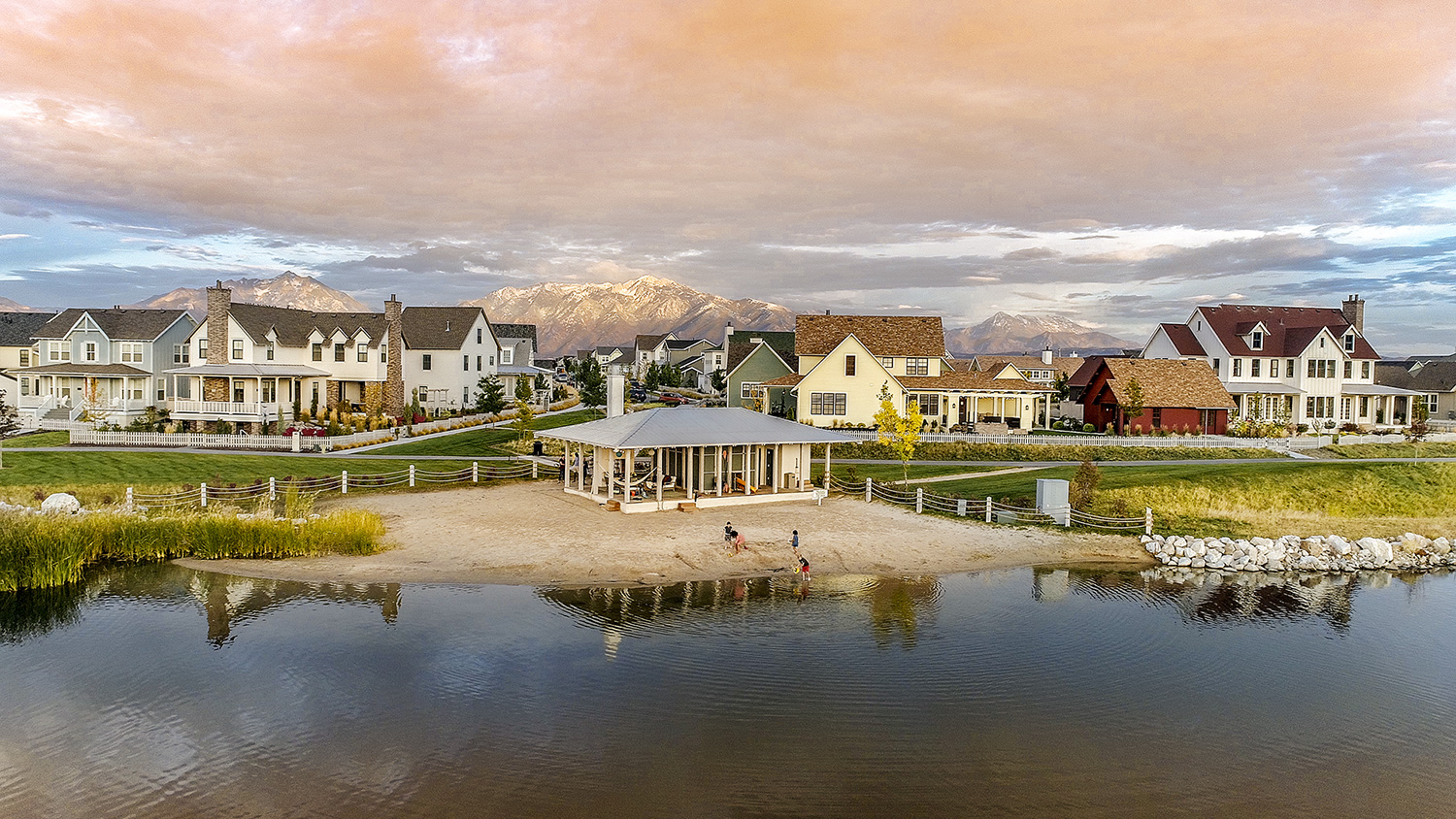 View of the Daybreak community in Utah with views of the mountains
