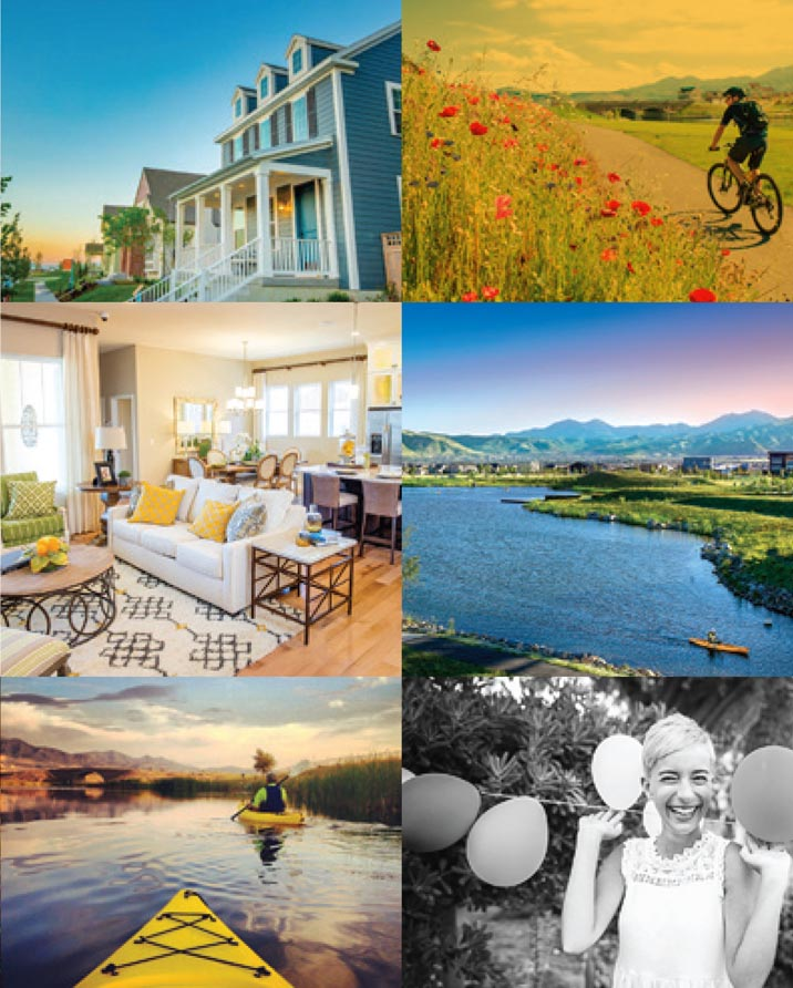 Collage of homes, people and parks in Daybreak located in South Jordan, Utah.