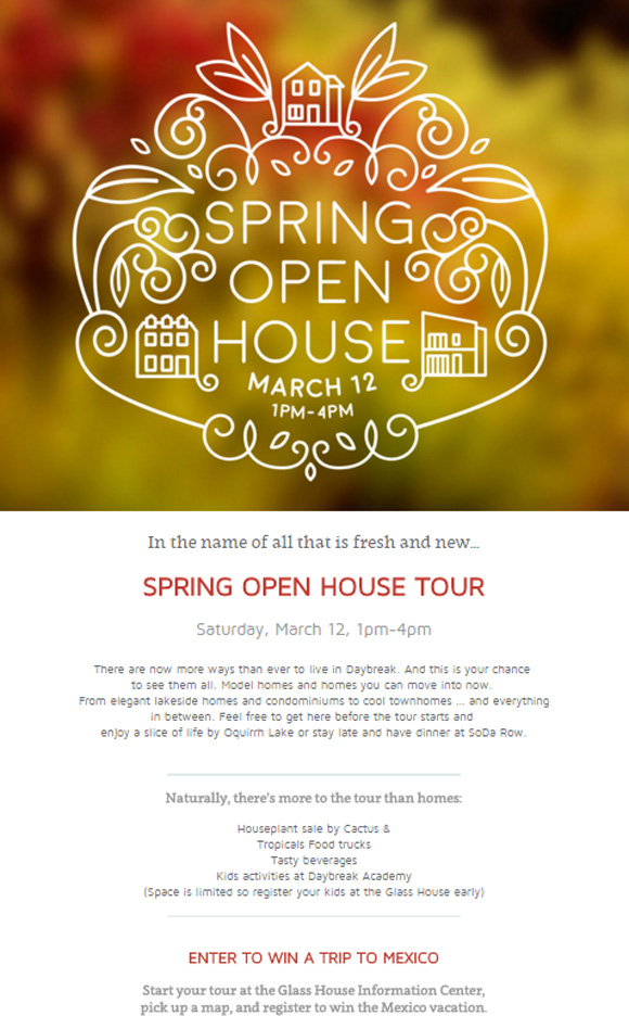 spring open house eventn page