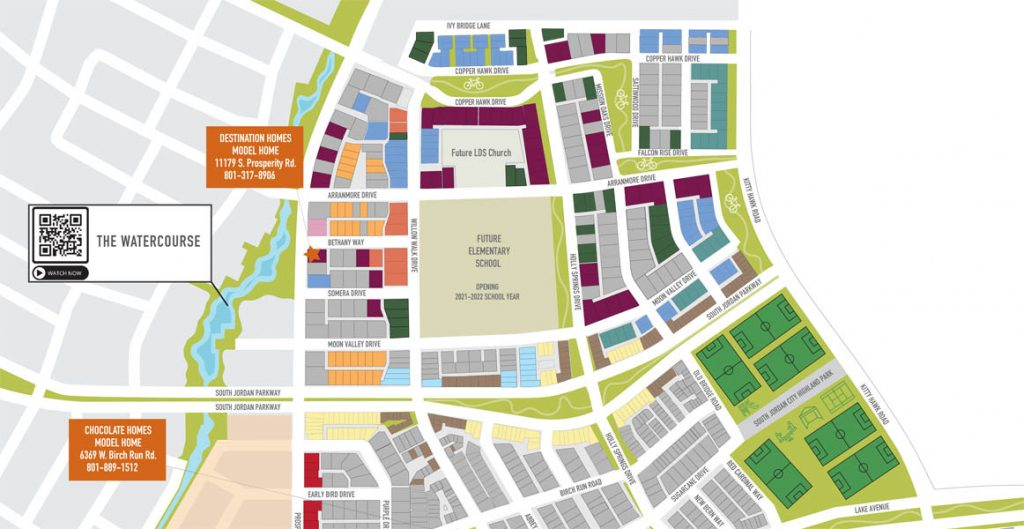 Highland Park Village map showing homesites and the new elementary school.