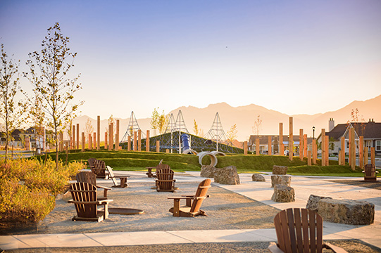 Lake Avenue Park & Dog Park with a playground, plaza, picnic tables & firepits and an off-leash dog park at Daybreak Utah